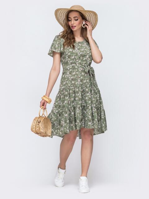 Зеленое платье с цветочным принтом и воланом по низу 48205, фото 1
