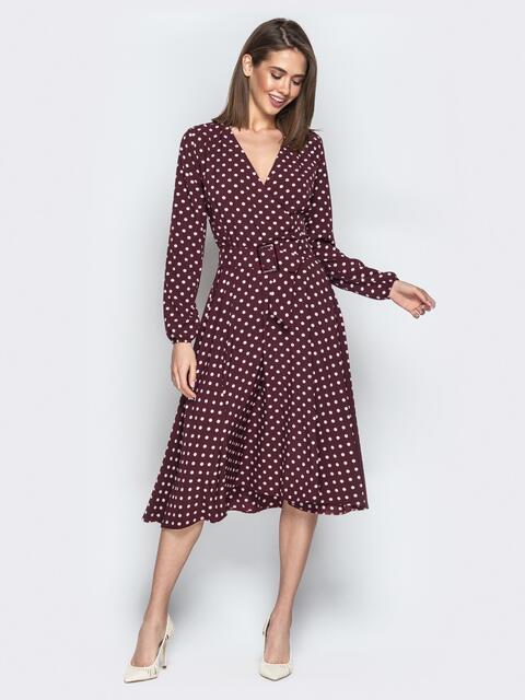 Бордовое платье в мелкий горох и юбкой-полусолнце - 21218, фото 1 – интернет-магазин Dressa