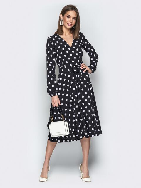 Чёрное платье в крупный горох с юбкой-полусолнце - 21217, фото 1 – интернет-магазин Dressa