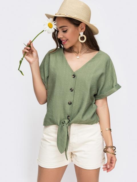 Легкая блузка прямого кроя хаки - 49314, фото 1 – интернет-магазин Dressa