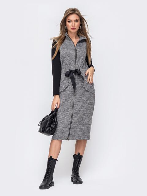 Приталенное платье из трикотажа с контрастными рукавами серое 51658, фото 1