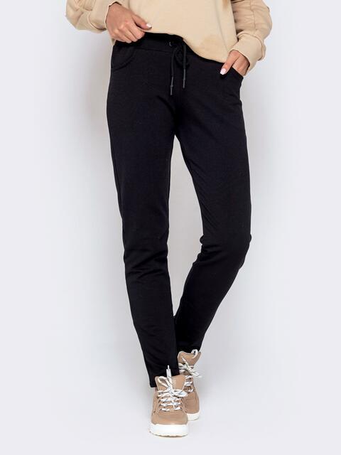 Прямые брюки в спортивном стиле чёрные - 40248, фото 1 – интернет-магазин Dressa