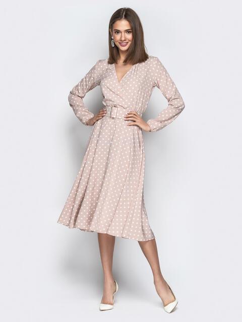 Пудровое платье в мелкий горох и юбкой-полусолнце - 21219, фото 1 – интернет-магазин Dressa