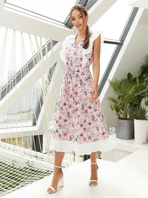 Расклешенное платье из штапеля с цветочным принтом розовое 54135, фото 1
