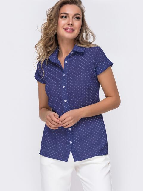 Темно-синяя блузка приталенного кроя с принтом 49776, фото 1