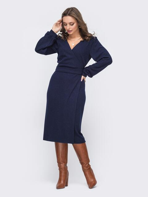 Трикотажное платье на запах темно-синее 51537, фото 1