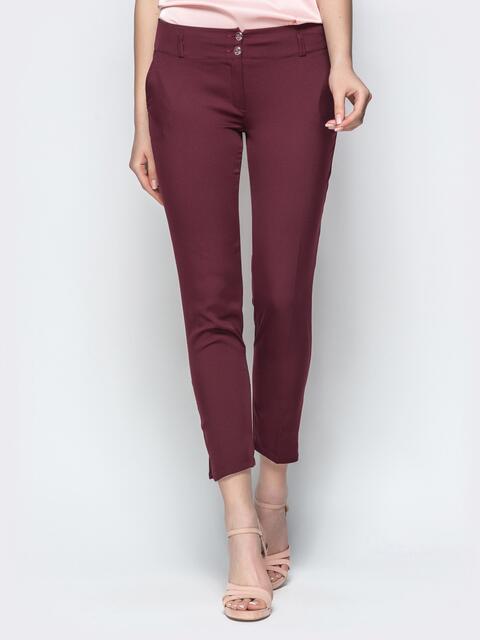 Укороченные брюки-дудочки бордового цвета 21867, фото 1