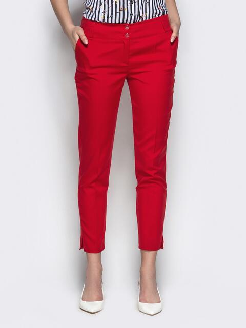 Укороченные брюки-дудочки красного цвета - 21865, фото 1 – интернет-магазин Dressa