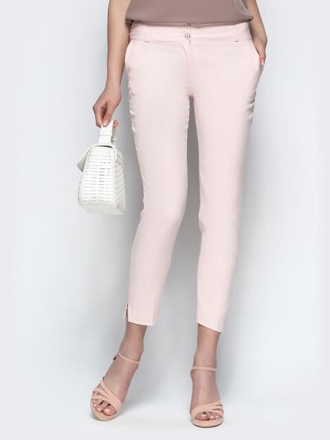 Укороченные брюки-дудочки пудрового цвета - 21864, фото 1 – интернет-магазин Dressa