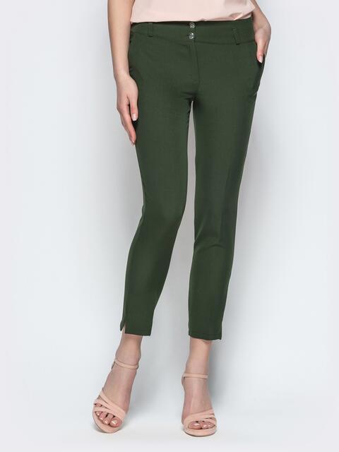 Укороченные брюки-дудочки зеленого цвета - 21866, фото 1 – интернет-магазин Dressa