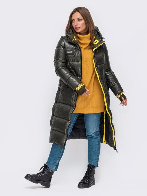 Зимняя куртка цвета хаки с трикотажными манжетами 51055, фото 1