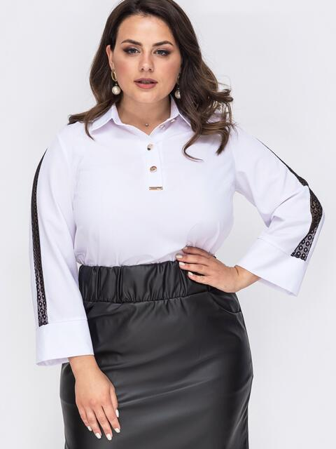Белая блузка батал с кружевными вставками на рукавах 50000, фото 1