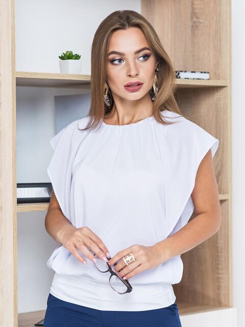 Белая однотонная двухслойная блузка с широким манжетом по низу   - 14089, фото 1 – интернет-магазин Dressa