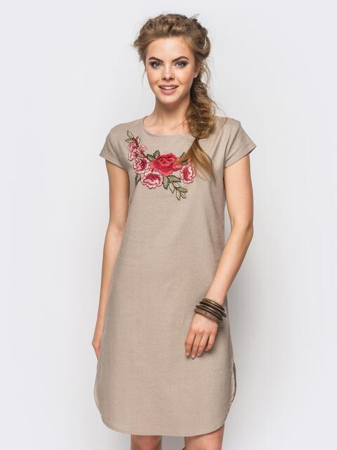 Коричневое платье из натуральной ткани с оригинальной вышивкой - 12524, фото 1 – интернет-магазин Dressa