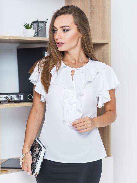 Легкая блузка с завязками и оборкой на горловине белая - 13261, фото 1 – интернет-магазин Dressa