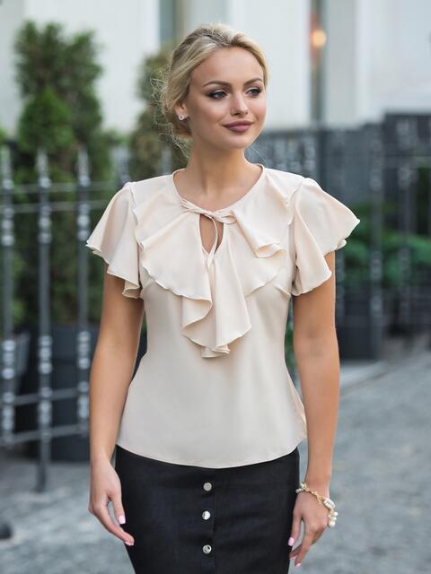 Легкая блузка с завязками и оборкой на горловине бежевая - 13263, фото 1 – интернет-магазин Dressa