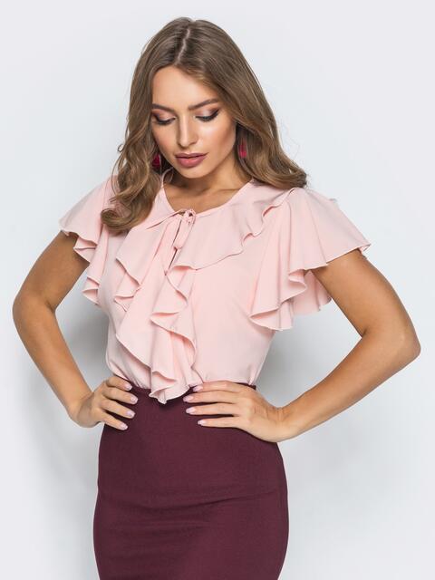 Легкая блузка с завязками и оборкой на горловине пудровая - 13262, фото 1 – интернет-магазин Dressa