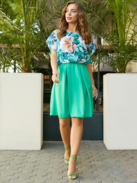 Платье с имитацией цветочного топа и юбки зеленое - 11627, фото 4 – интернет-магазин Dressa