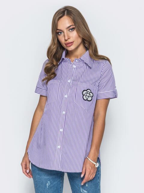 Рубашка в полоску с нашивкой на кармане 14576, фото 1