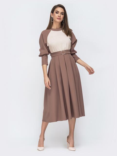 Бежевое платье-миди с рукавом реглан 44949, фото 1