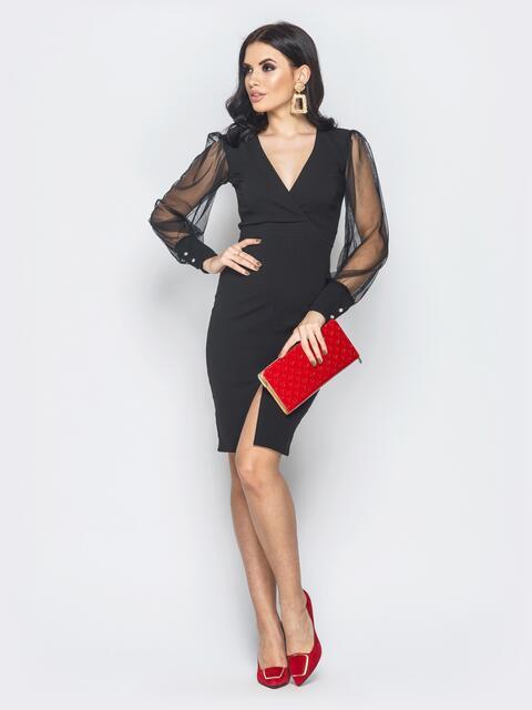 Черное платье с разрезом и рукавами из фатина - 18996, фото 1 – интернет-магазин Dressa