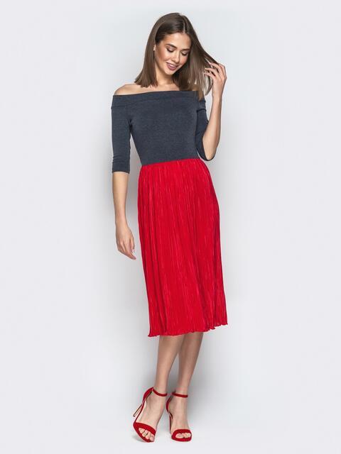"""Красное платье с вырезом горловины """"анжелика"""" и юбкой-плиссе - 21039, фото 1 – интернет-магазин Dressa"""