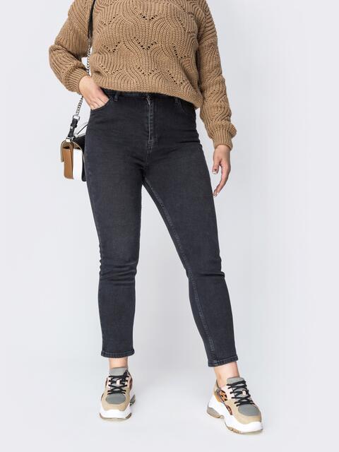 Осенние джинсы чёрного цвета с завышенной талией - 41923, фото 1 – интернет-магазин Dressa