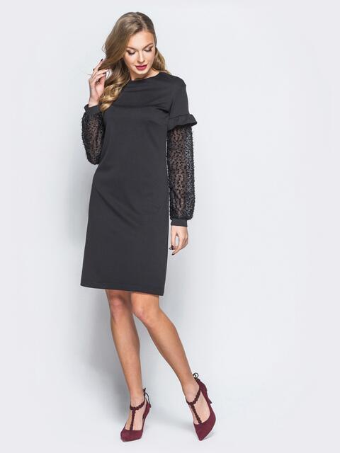 """Платье черного цвета с """"травкой"""" на рукавах - 17964, фото 1 – интернет-магазин Dressa"""