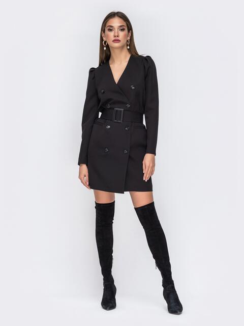 Платье-пиджак чёрного цвета с широким поясом - 42220, фото 1 – интернет-магазин Dressa