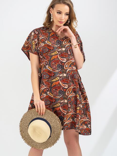 Пляжная туника с принтом коричневого цвета 45937, фото 1