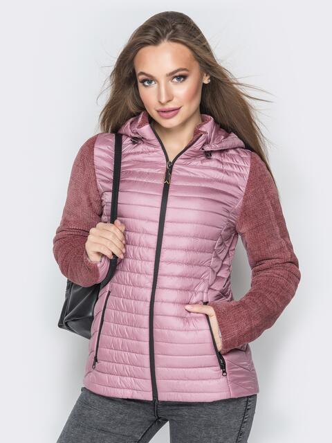 Розовая куртка с капюшоном на кулиске и велюровыми рукавами - 20283, фото 1 – интернет-магазин Dressa