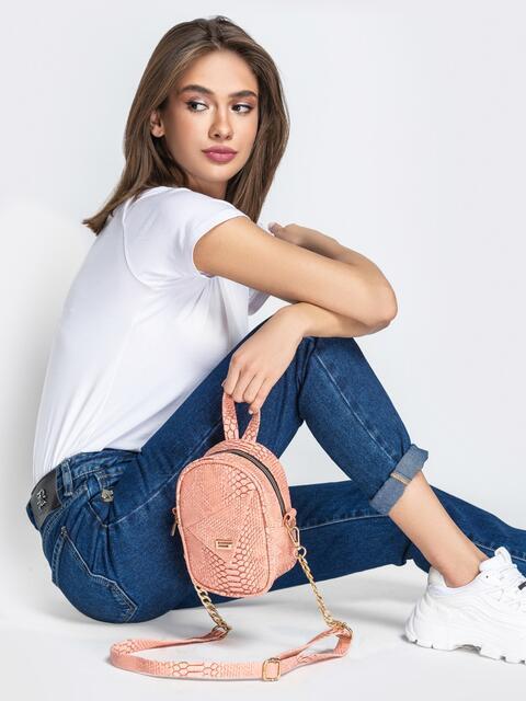Розовая сумка-таблетка из эко-кожи на ремешке - 20570, фото 1 – интернет-магазин Dressa