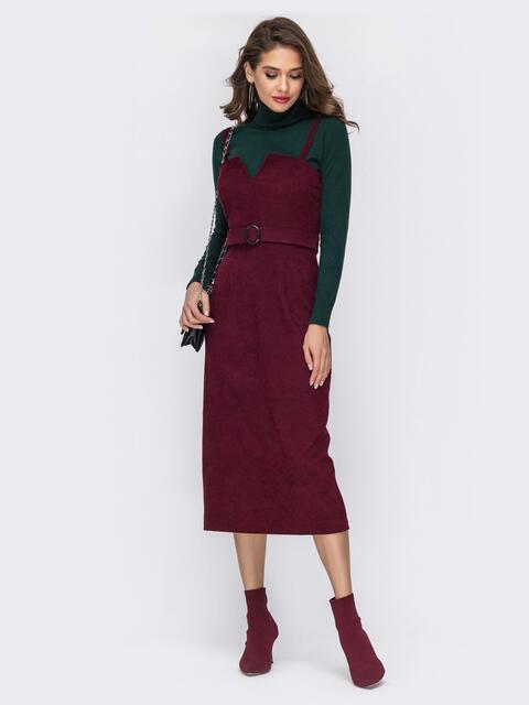 Сарафан из вельвета с фигурным вырезом бордовый - 42002, фото 1 – интернет-магазин Dressa