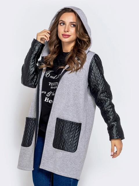Серый кардиган с контрастными рукавами и карманами - 40489, фото 1 – интернет-магазин Dressa