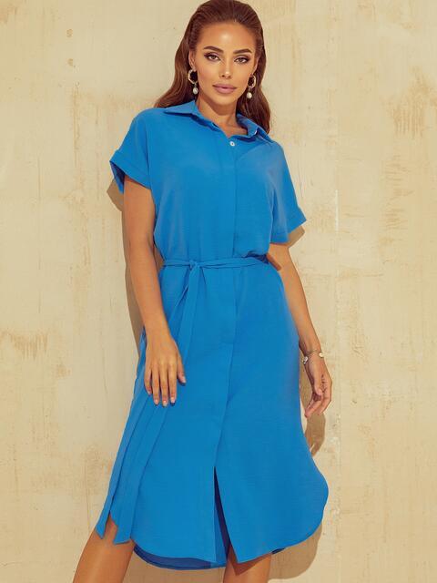 Синее платье-рубашка из крепа с разрезами по бокам 53923, фото 1
