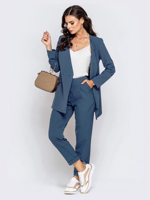 Синий комплект в полоску из жакета и брюк - 40484, фото 1 – интернет-магазин Dressa