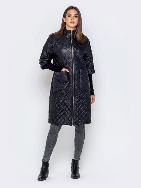 Стёганая куртка черного цвета с накладными карманами 40193, фото 1