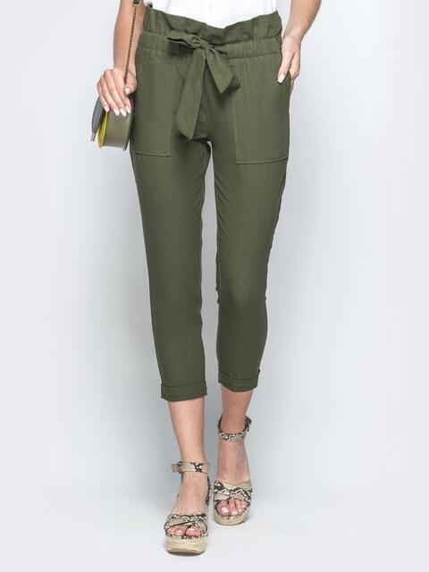 Укороченные брюки из льна цвета хаки с накладными карманами - 39341, фото 1 – интернет-магазин Dressa