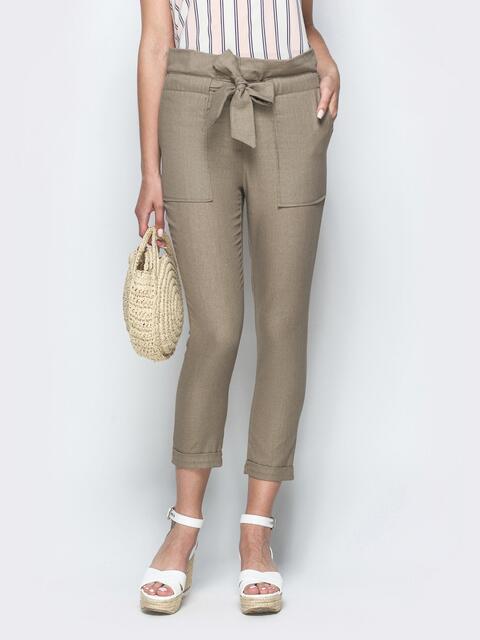 Укороченные брюки из льна серого цвета с накладными карманами - 39340, фото 1 – интернет-магазин Dressa