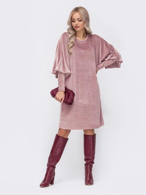 """Вельветовое платье-миди с рукавом """"летучая мышь"""" розовое 51777, фото 1"""
