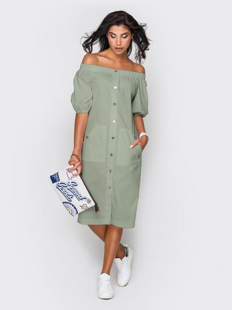 Зеленое платье-рубашка с открытыми плечами 50045, фото 1