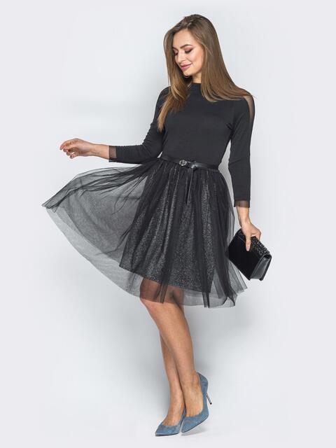 Черное платье с юбкой на мерцающей основе и фатином - 19243, фото 1 – интернет-магазин Dressa