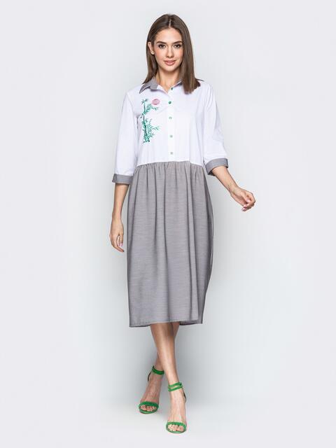 Комбинированное платье-рубашка oversize с вышивкой серое - 20669, фото 1 – интернет-магазин Dressa