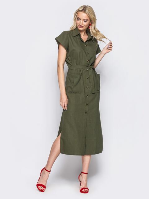 Льняное зелёное платье-рубашка с разрезами по бокам 11128, фото 1