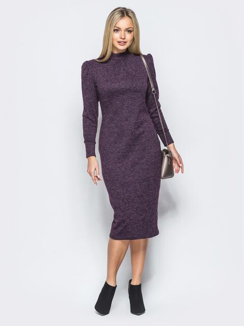 """Меланжевое платье фиолетового цвета из трикотажа """"ангора"""" - 17558, фото 1 – интернет-магазин Dressa"""