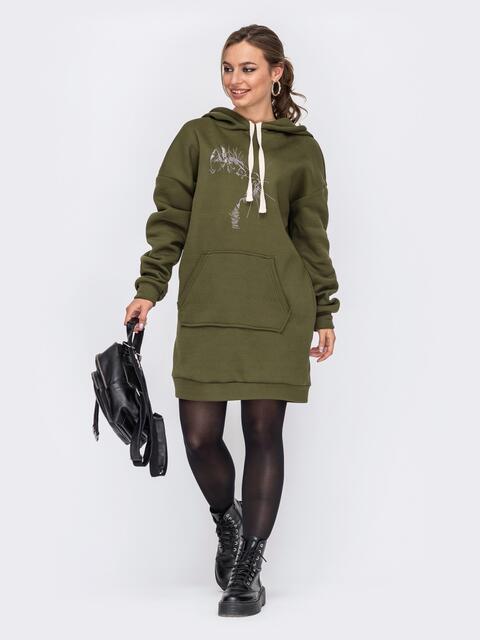 Платье-туника с капюшоном и карманом-кенгуру хаки 51608, фото 1
