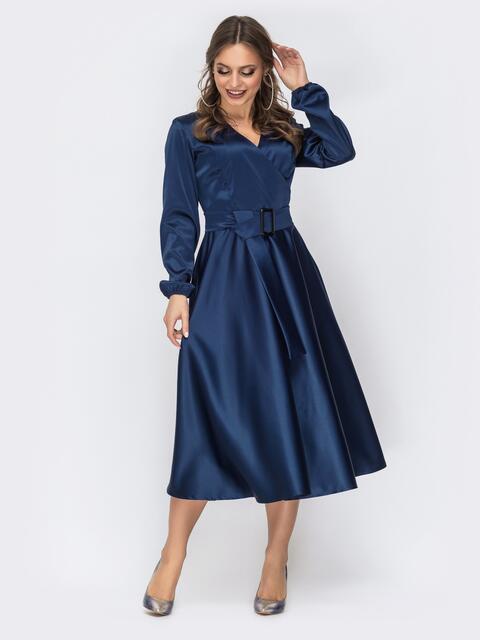 Тёмно-синее платье с лифом на запах - 44157, фото 1 – интернет-магазин Dressa