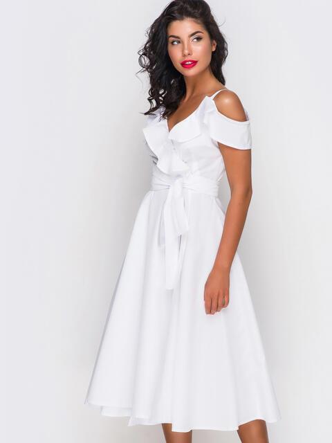 Белое платье на запах на тонких бретелях 10817, фото 1