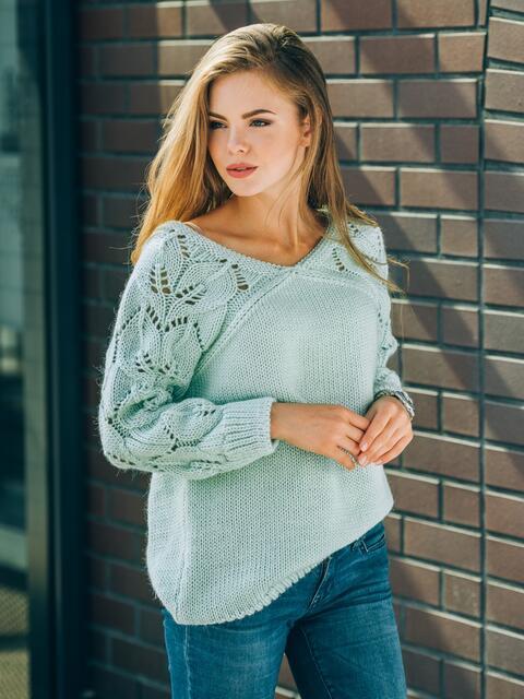 Джемпер с ажурными рукавами бирюзовый - 13108, фото 1 – интернет-магазин Dressa