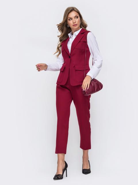 Комплект бордового цвета из жилета с карманами и брюк 50170, фото 1